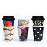 6 Fashion Series Reusable Latte Cups with Silicon Lids