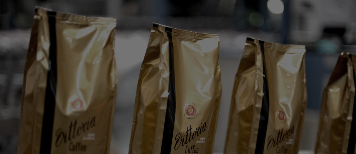 Bags of Vittoria Coffee Espresso coffee beans