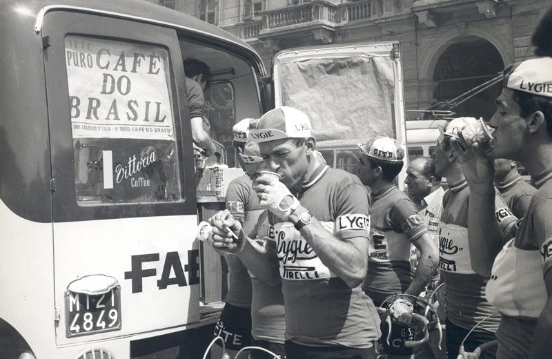 Vittoria Coffee being served out of the back of a van to cyclists in Italy in 1960