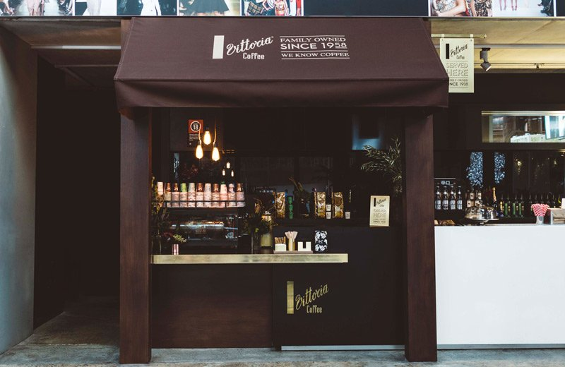 A Vittoria Coffee pop-up store for the Mercedes Benz Fashion Week Australia event