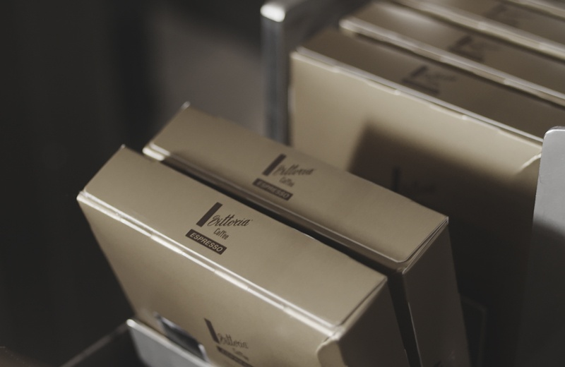 Vittoria Coffee capsules in their box
