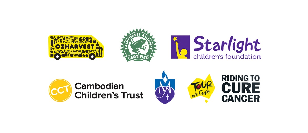 Logos of charities and initiatives that Vittoria Coffee supports. OzHarvest, Rainforest Alliance Certified, Riding to Cure Cancer, Starlight Children's Foundation, Cambodian Children's Trust