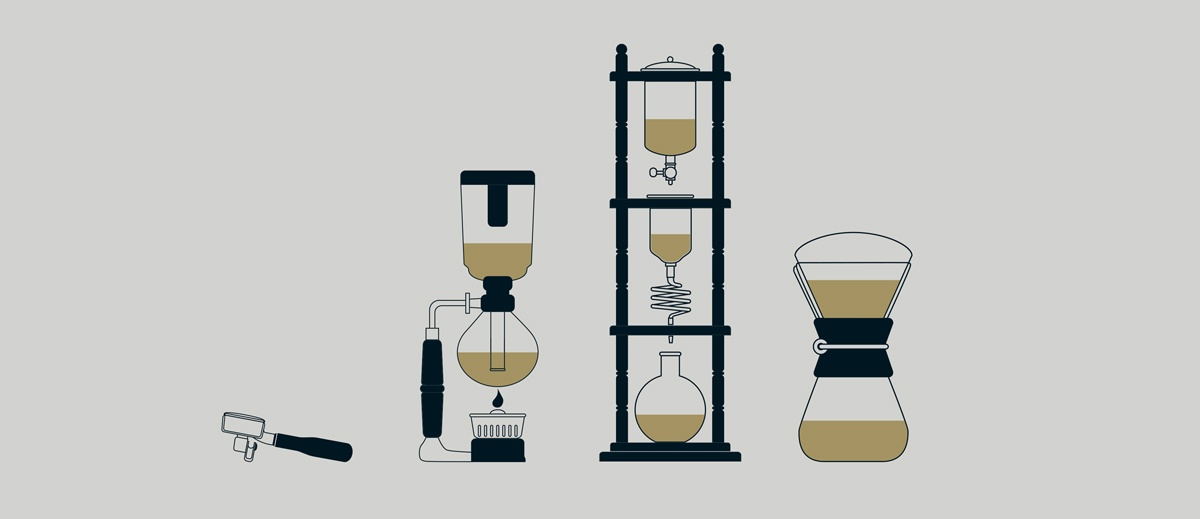 Sketch of drip coffee brewing methods used by Vittoria Coffee