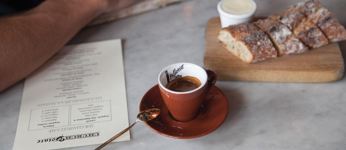 A Vittoria Coffee espresso at Church & Slate cafe