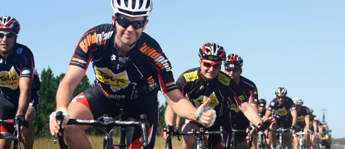 A group of cyclists ride in the Tour de Cure which Vittoria Coffee is a sponsor