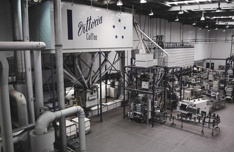 Looking down on the roasting facility at Vittoria Coffee's headquarters in Sydney