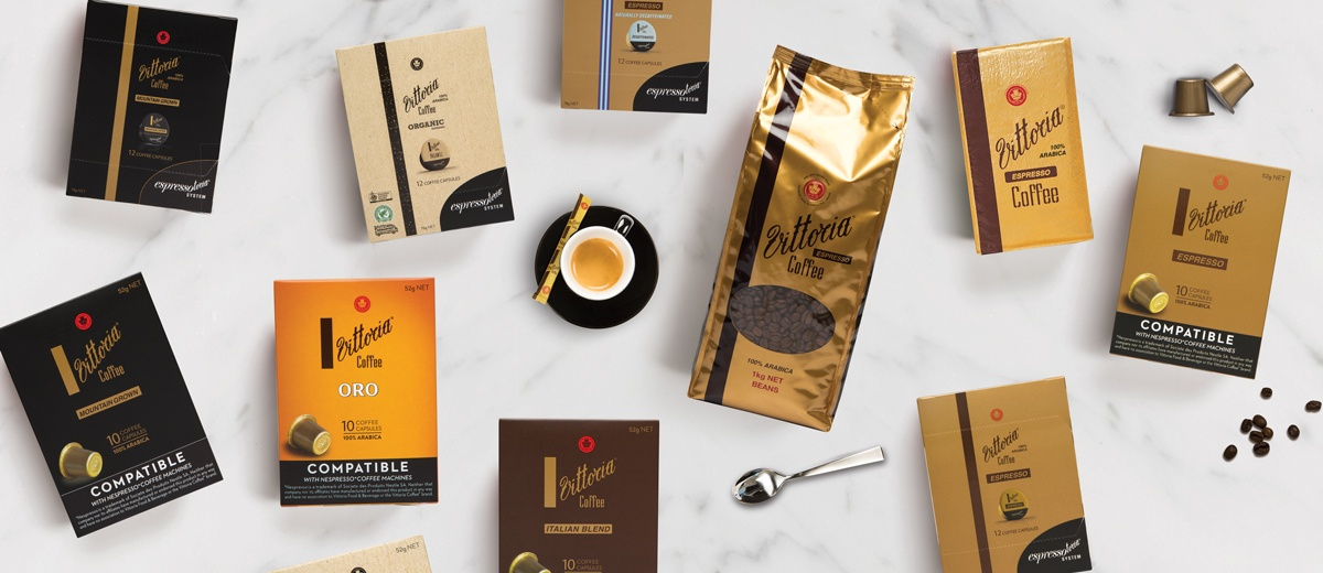 A flat lay photo of various Vittoria Coffee products
