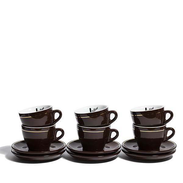 Cappuccino Cup and Saucer Set of 6 Brown