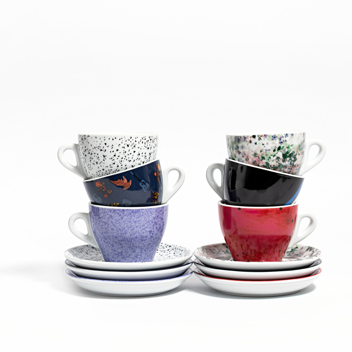 6 Fashion Series Ceramic Cappuccino Cups and Saucers