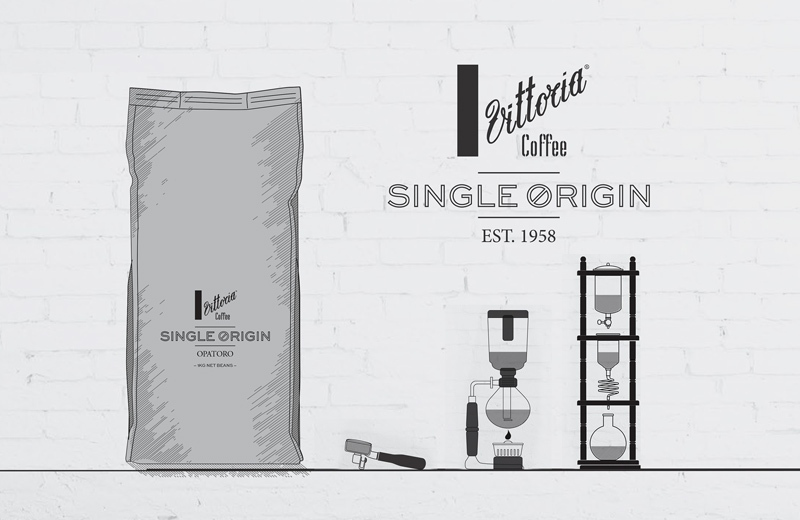 A black and white sketch of a large bag of Vittoria Coffee Single Origin coffee beans
