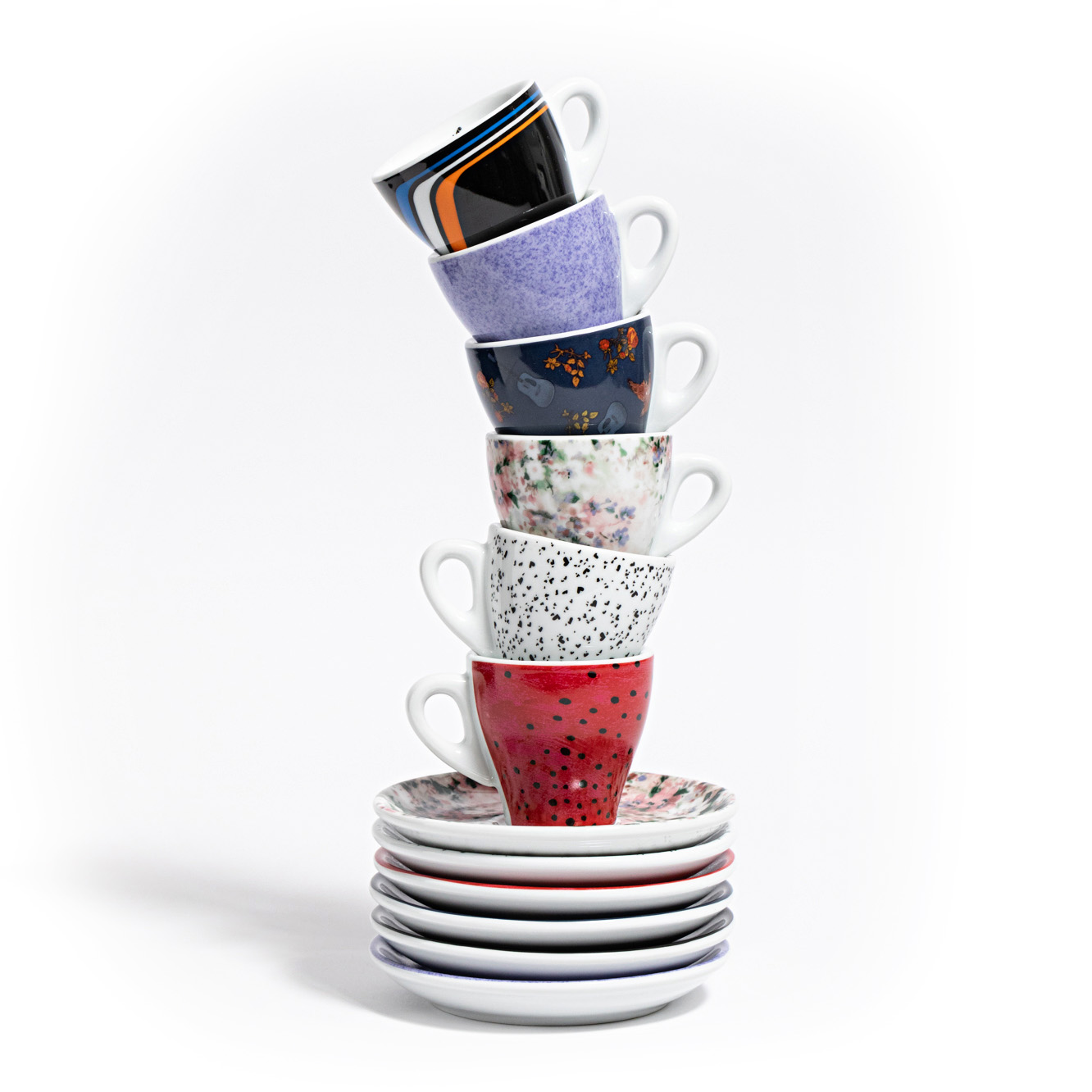 6 Fashion Series Ceramic Espresso Cups and Saucers
