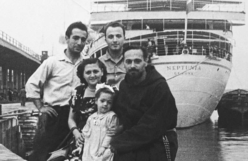 Vittoria Coffees Les Shirato (CEO) with his brother and family boarding their ship to come to Australia for the first time.