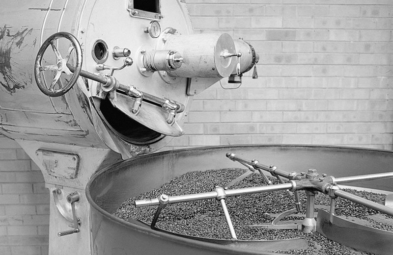 Vittoria Coffee bean being churned in one step of their roasting process
