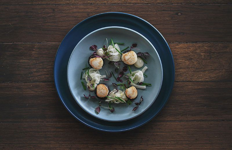 A beautifully presented meal from a top restaurant on plates sitting on a dark wooden table